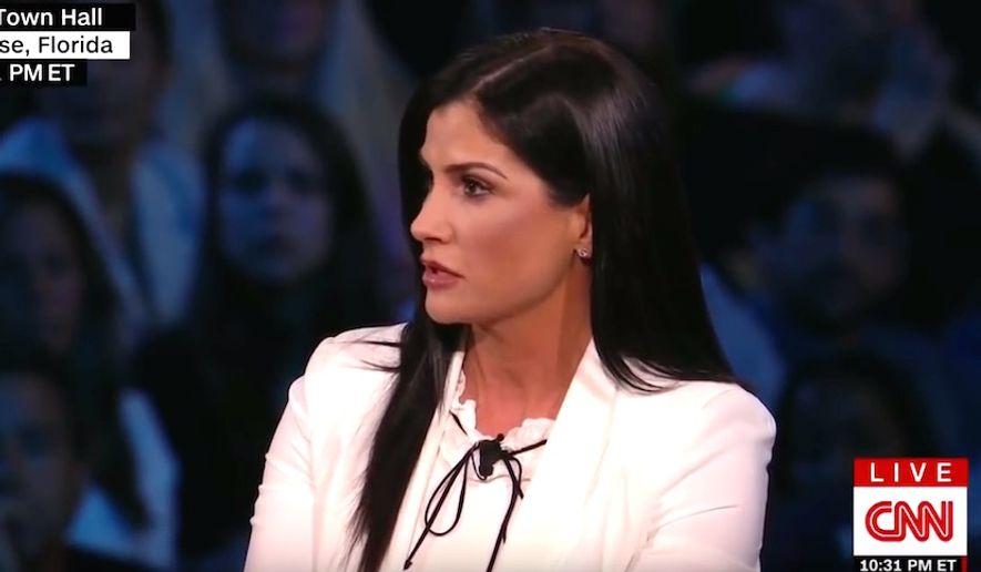 National Rifle Association spokeswoman Dana Loesch appears on CNN's town hall debate on guns, Feb. 21, 2018. (Image: CNN screenshot)