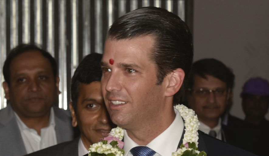 Donald Trump Jr, the eldest son of President Donald Trump, attends an event at the Trump Tower in Mumbai, India, Thursday, Feb. 22, 2018. For over a week the front pages of many Indian newspapers have promised that buyers who put down a deposit for an apartment in the new Trump Towers in a New Delhi suburb will get to spend Friday evening being wined and dined by Trump Jr. But the money had to be paid, the ads said, before Thursday. (AP Photo)