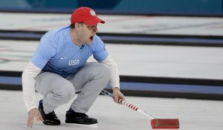 United States's skip John Shuster makes a call during a men's semi-final curling match against Canada at the 2018 Winter Olympics in Gangneung, South Korea, Thursday, Feb. 22, 2018. (AP Photo/Natacha Pisarenko)