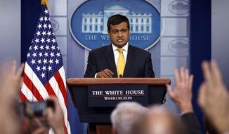 White House deputy press secretary Raj Shah speaks during the daily press briefing at the White House Thursday, Feb. 22, 2018, in Washington. (AP Photo/Evan Vucci)