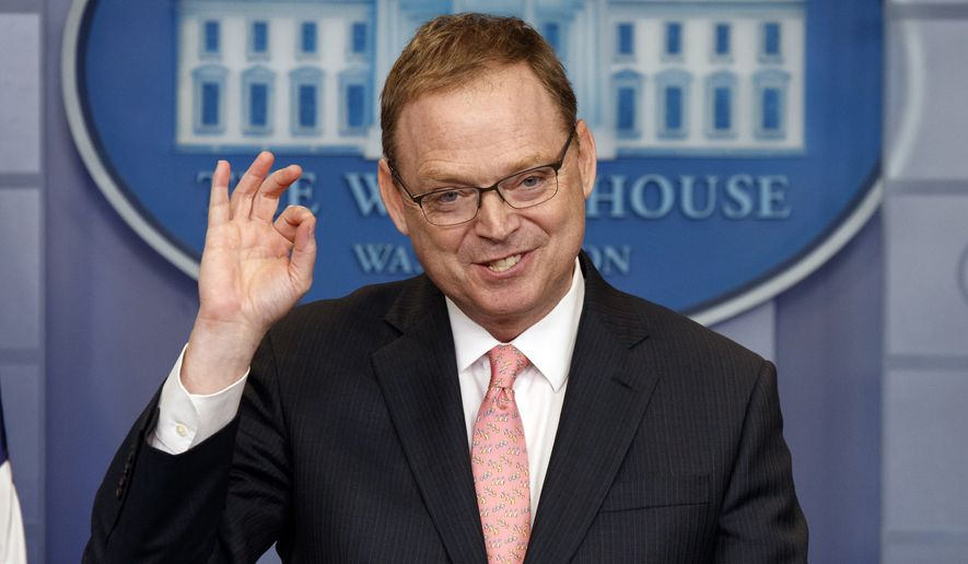 White House Council of Economic Advisers chairman Kevin Hassett speaks during the daily press briefing at the White House Thursday, Feb. 22, 2018, in Washington. (AP Photo/Evan Vucci)