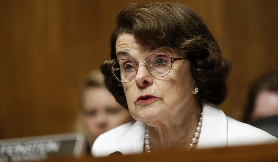 """Sen. Dianne Feinstein, California Democrat said the FBI notified her five years ago that a staff member was """"potentially being sought out by the Chinese government to provide information."""" (Associated Press/File)"""