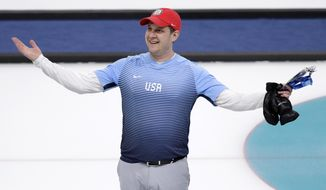 United States' skip John Shuster reacts after defeating Canada during the men's curling semi-final match at the 2018 Winter Olympics in Gangneung, South Korea, Thursday, Feb. 22, 2018. United States won. (AP Photo/Aaron Favila)