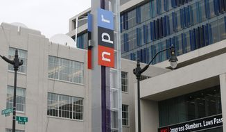 FILE - This April 15, 2013 file photo shows the headquarters for National Public Radio (NPR) on North Capitol Street in Washington. NPR has adopted new measures to improve its workplace culture, following an independent investigation into sex harassment issues stemming from the ouster of a top executive. The measures include changes in management structure, a diversity committee, and pay audits to assess fairness. (AP Photo/Charles Dharapak, File)
