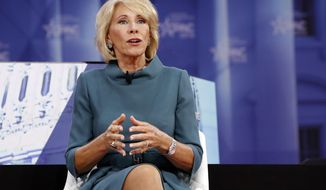 Education Secretary Betsy DeVos speaks during the Conservative Political Action Conference (CPAC), at National Harbor, Md., Thursday, Feb. 22, 2018. (AP Photo/Jacquelyn Martin)