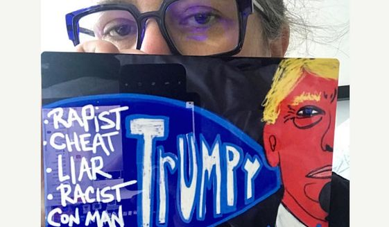 Entertainer Rosie O'Donnell is using the e-commerce website Etsy to sell 5x7 anti-Trump prints. She autographs the artwork and donates the proceeds to political causes. (Image: Etsy, Rosie O'Donnell)