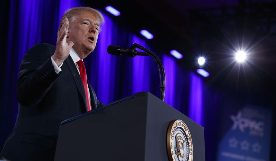 President Donald Trump delivers remarks to the Conservative Political Action Conference, Friday, Feb. 23, 2018, in Oxon Hill, Md. (AP Photo/Evan Vucci)