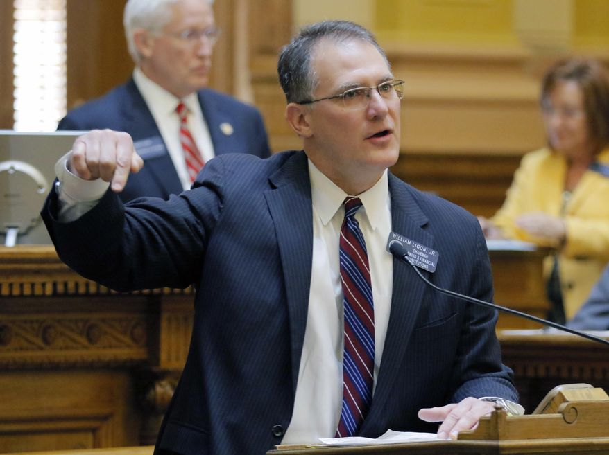 FILE- This Feb. 16, 2018 file photo shows State Sen. William T. Ligon, Jr. during a legislative session in Atlanta. The Georgia Senate has passed a bill, Friday, Feb. 23, 2018 that would allow adoption agencies receiving taxpayer funding to refuse to work with same-sex couples. Sponsored by Ligon, a Brunswick Republican, the measure was passed by a vote of 35 to 19 after about an hour of contentious debate. (Bob Andres/Atlanta Journal-Constitution via AP, File)