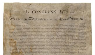 This April 5, 2017, image provided by Seth Kaller Inc. shows a rare parchment copy of the Declaration of Independence, made in Washington in the 1820s for founding father James Madison. During the Civil War, the precious document was hidden behind wallpaper in a home in Virginia to keep Union soldiers from finding it. Later, it sat in a closet in Kentucky, in a broken frame, unappreciated and stored in a cardboard box. (Seth Kaller INC. via AP) ** FILE **