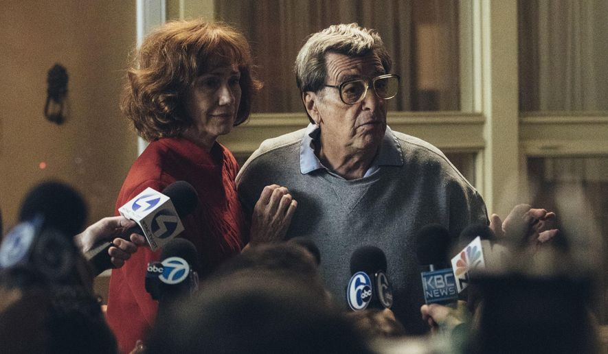 """In this image released by HBO, Kathy Baker, left, and Al Pacino portray Sue and Joe Paterno in a scene from """"Paterno,"""" a film about the late Penn State football coach. HBO says the film will focus on Paterno dealing with the fallout from the child sex abuse scandal involving his former assistant coach Jerry Sandusky. The all-time winningest coach in major college football history was fired days after Sandusky's Nov. 2011 arrest and died two months later at the age of 85. (Atsushi Nishijima/HBO via AP)"""