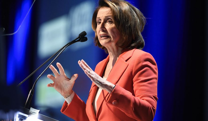 House Minority Leader Nancy Pelosi of Calif. speaks at the 2018 California Democrats State Convention Saturday, Feb. 24, 2018, in San Diego. (AP Photo/Denis Poroy)