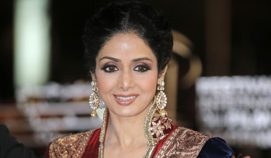 In this Dec. 1, 2012, file photo, Indian actress Sridevi arrives at the Marrakech International Film Festival in Marrakech, at the Marrakech Congress Palace. (AP Photo/Lionel Cironneau, File)