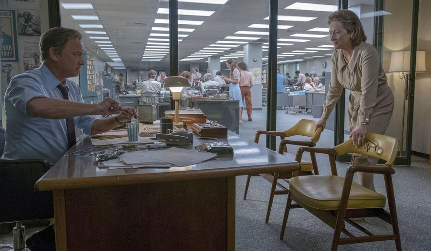 """In this image released by 20th Century Fox, Tom Hanks portrays Ben Bradlee, left, and Meryl Streep portrays Katharine Graham in a scene from """"The Post."""" The film is nominated for an Oscar for best picture. The 90th Oscars will air live on ABC on Sunday, March 4. (Niko Tavernise/20th Century Fox via AP)"""