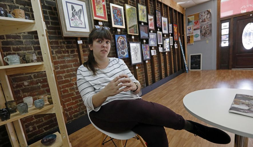 Bailey McDaniel, 22, an organizer with Starkville Pride, an LGBT support group is photographed Thursday, Feb. 22, 2018 in Starkville, Miss.  Starkville aldermen voted 4-3 to deny the event permit Tuesday. None of the aldermen who voted against the permit have explained their reasoning.  (AP Photo/Rogelio V. Solis)
