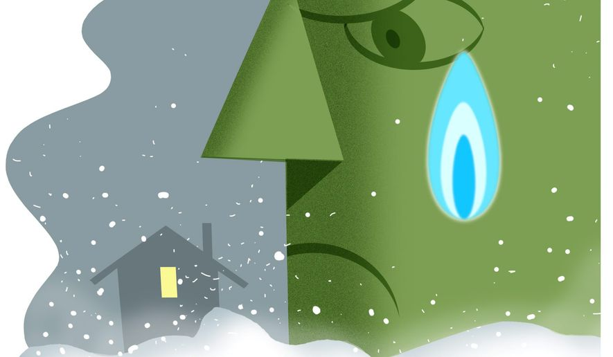 Illustration on environmentalist interference with natural gas supply by Alexander Hunter/The Washington Times