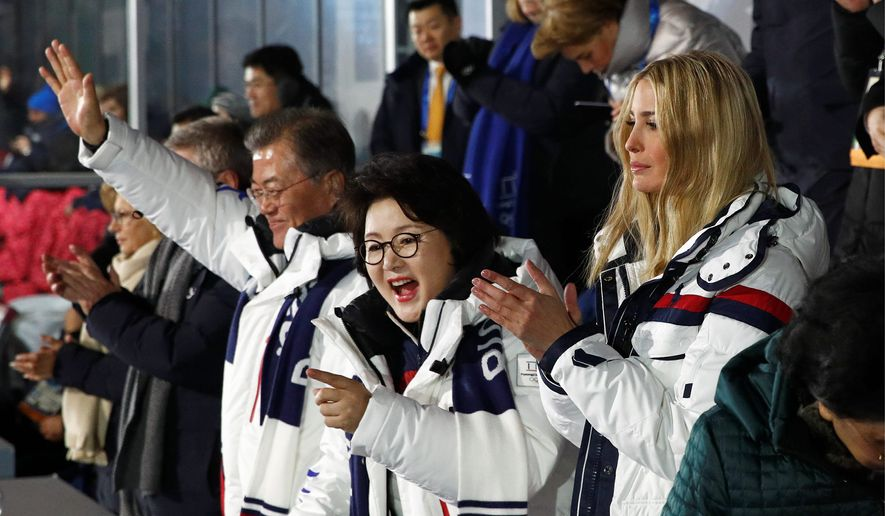 Ivanka Trump attended the Olympics closing ceremonies with South Korean President Moon Jae-in and first lady Kim Jung-sook. (Associated Press)