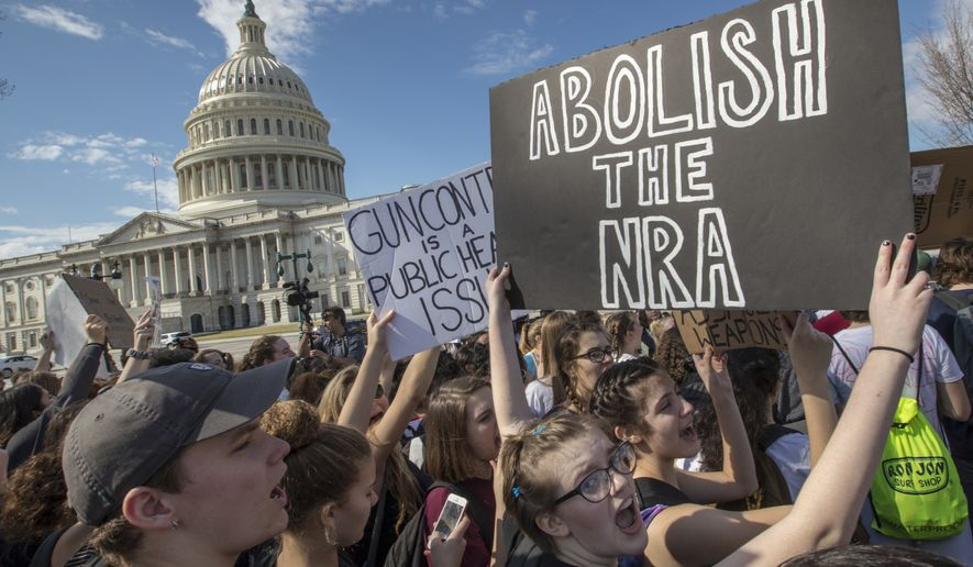 In this Feb. 21, 2018, photo, school students rally in solidarity with those affected by the shooting at Marjory Stoneman Douglas High School in Florida, at the Capitol in Washington.  More major marches are planned nationwide for March 24. (AP Photo/J. Scott Applewhite)