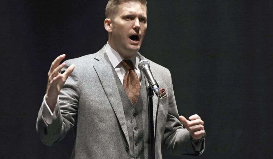 In this Oct. 19, 2017, file photo, white nationalist Richard Spencer speaks at the University of Florida in Gainesville, Fla. (AP Photo/Chris O'Meara, File)