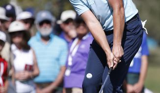 Luke List hits on the fourth hole during the final round of the Honda Classic golf tournament, Sunday, Feb. 25, 2018 in Palm Beach Gardens, Fla. (AP Photo/Wilfredo Lee)