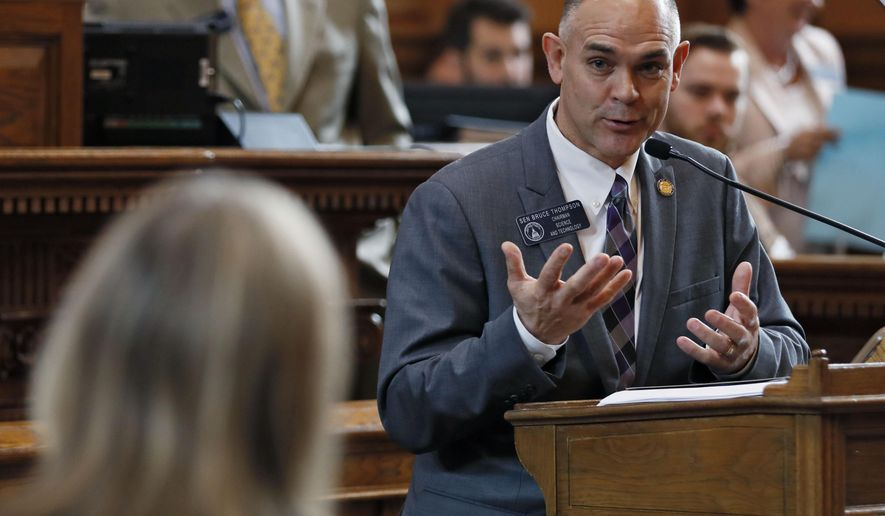 """FILE - In this Feb. 12, 2018 file photo, Sen. Bruce Thompson, R - White, speaks about the the computer crime bill in Atlanta. Republican Attorney General Christopher Carr has backed a proposal that would ban """"unauthorized computer access."""" The measure has passed the Senate and awaits action in the House. (Bob Andres/Atlanta Journal-Constitution via AP, File)"""