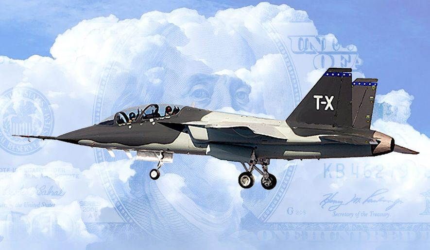 Illustration of the Boeing TX trainer by Alexander Hunter/The Washington Times