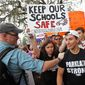 Survivors of shooting at Marjory Stoneman Douglas High School rally for gun control on the steps of the state capitol, in Tallahassee, Florida. (Associated Press)