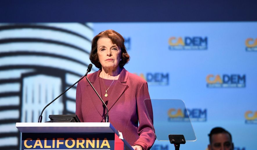 Sen. Dianne Feinstein reminded her fellow California Democrats at a state party conference this weekend that she's a longtime leader in the push for gun control. (Associated Press photograph)
