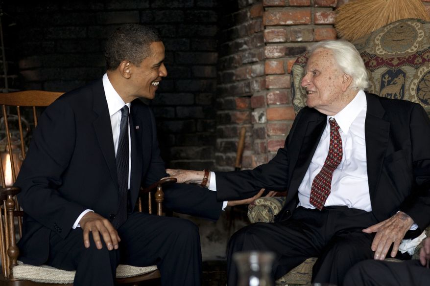 In this image released by the White House, President Barack Obama meets with Billy Graham, 91, at his mountainside home in Montreat, N.C., Sunday, April 25, 2010. Obama concluded his North Carolina vacation with his first meeting of the ailing evangelist, who has counseled commanders in chief since Dwight Eisenhower. (AP Photo/The White House, Pete Souza)