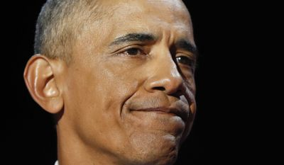 President Barack Obama pauses as he speaks during his farewell address at McCormick Place in Chicago, Tuesday, Jan. 10, 2017. (AP Photo/Pablo Martinez Monsivais) ** FILE **