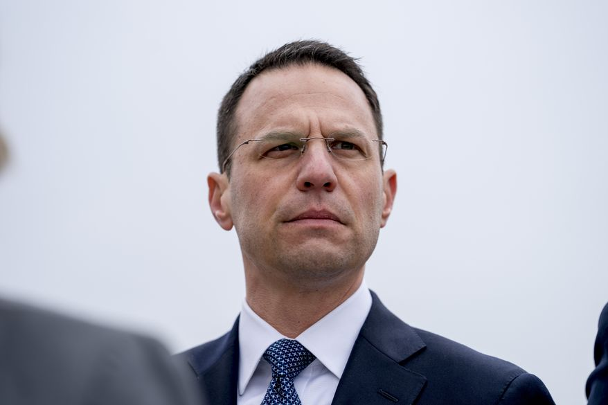 Pennsylvania Attorney General Josh Shapiro attends a news conference near the White House, Monday, Feb. 26, 2018 in Washington. Eight Democratic Attorneys Generals call for measures to combat gun violence, issues that they have hoped to be able to raise with President Donald Trump. They say they have yet to be included in the conversations with Trump. (AP Photo/Andrew Harnik)
