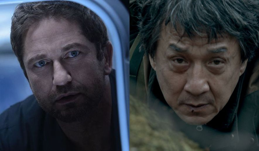 """Gerard Butler as Jake Lawson in """"Geostorm"""" and Jackie Chan as Quan in """"The Foreigner,"""" now available on Blu-ray."""