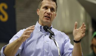 FILE - In this Jan. 29, 2018 file photo, Missouri Gov. Eric Greitens speaks in Palmyra, Mo. Missouri lawmakers are returning to the Statehouse for the first time Monday, Feb. 26, 2018 since Greitens was indicted, with plans to discuss assembling a committee whose investigation could lead to his impeachment. The first-term Republican governor was indicted late Thursday on felony invasion of privacy. (AP Photo/Jeff Roberson, File)
