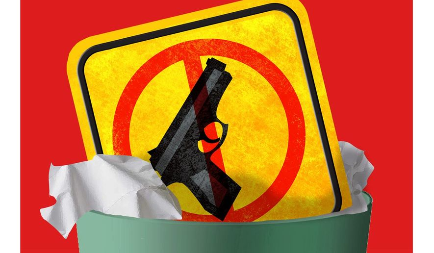 Illustration calling for elimination of school gun-free zones by Alexander Hunter/The Washington Times