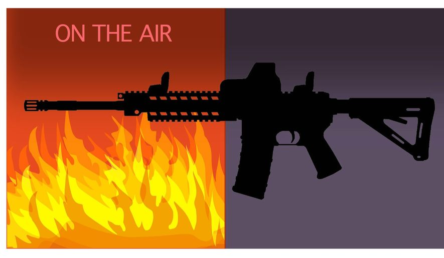 Illustration on one-sided media coverage of the gun issue by Alexander Hunter/The Washington Times