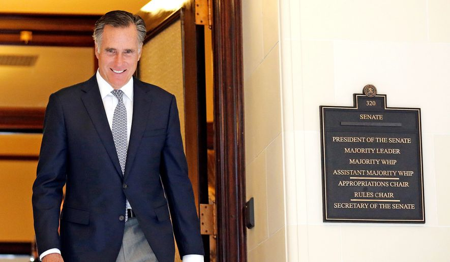 Mitt Romney leaves the Senate offices at the Utah State Capitol Tuesday, Feb. 27, 2018, in Salt Lake City. Romney held closed-door meetings with Utah lawmakers Tuesday as the former Republican presidential nominee continues his bid to become a U.S. Senator for Utah. (AP Photo/Rick Bowmer)