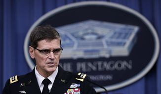 U.S. Central Command Command Commander, U.S. Army Gen. Joseph Votel, speaks to reporters at the Pentagon, Tuesday, Aug. 30, 2016, during a briefing to provide update on USCENTCOM operations. (AP Photo/Manuel Balce Ceneta)