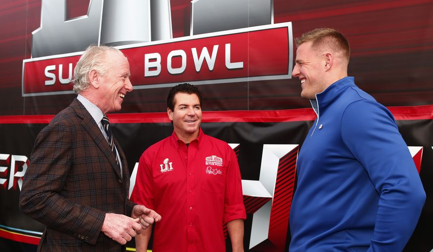 Papa John's founder, chairman and CEO John Schnatter talks with Archie Manning and JJ Watt on Super Bowl 51 Radio Row, Thursday, Feb. 2, 2017, in Houston. (Photo by Jack Dempsey/Invision for Papa John's/AP Images) ** FILE **
