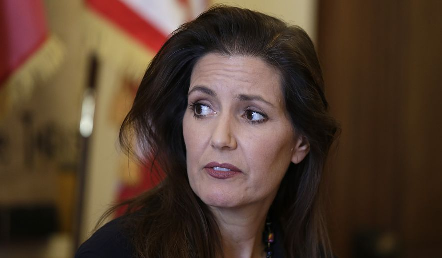 Oakland Mayor Libby Schaaf during a news conference at City Hall Wednesday, June 15, 2016, in Oakland, Calif. Schaaf removed the interim police chief Wednesday after appointing him less than a week ago amid a widening sex scandal involving several officers. The mayor said new information led her to lose confidence in Ben Fairow after she named him to lead the beleaguered department. (AP Photo/Eric Risberg)