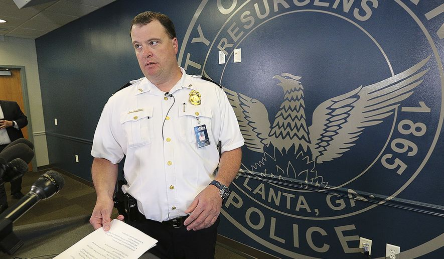 Major Michael O'Connor, Atlanta Police Department Major Crimes Commander, arrives for a press conference on missing CDC researcher Timothy Cunningham at the Atlanta Public Safety Headquarters on Tuesday, Feb 27, 2018, in Atlanta. (Curtis Compton/Atlanta Journal-Constitution via AP) ** FILE **