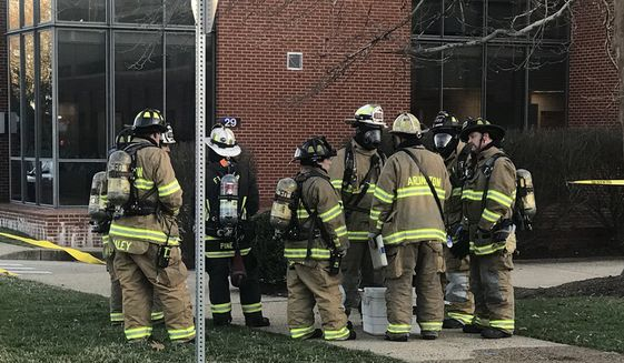 Hazmat crews rushed to Joint Base Myer-Henderson Hall and were trying to identify the substance Tuesday afternoon, according to the Fort Myer Fire Department's Twitter account. (Twitter.com)