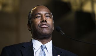 """A Department of Housing and Urban Development employee said Tuesday, Feb. 27, 2018, that she was demoted after she refused to comply with a request from the acting agency head that she """"find money"""" to bankroll a costly remodeling of future HUD Secretary Ben Carson's office. (AP Photo/Matt Rourke, File)"""