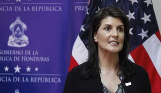 Nikki Haley, United States Ambassador to the United Nations, speaks during a joint press conference with Honduras' President Juan Orlando Hernandez, not in picture, in Tegucigalpa, Honduras, Tuesday, Feb. 27, 2018. Haley said Hernandez should increase efforts to establish a dialogue with opposition leaders who claim he stole the November elections. (AP Photo/Fernando Antonio)