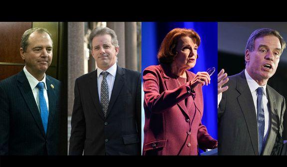 Rep. Adam Schiff, California Democrat; Ex-British spy Christopher Steele; Sen. Dianne Feinstein, California Democrat; Sen. Mark Warner, Virginia Democrat.