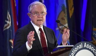 Attorney General Jeff Sessions delivers remarks to the National Association of Attorneys General at their Winter Meeting in Washington, Tuesday, Feb. 27, 2018. (AP Photo/Susan Walsh)