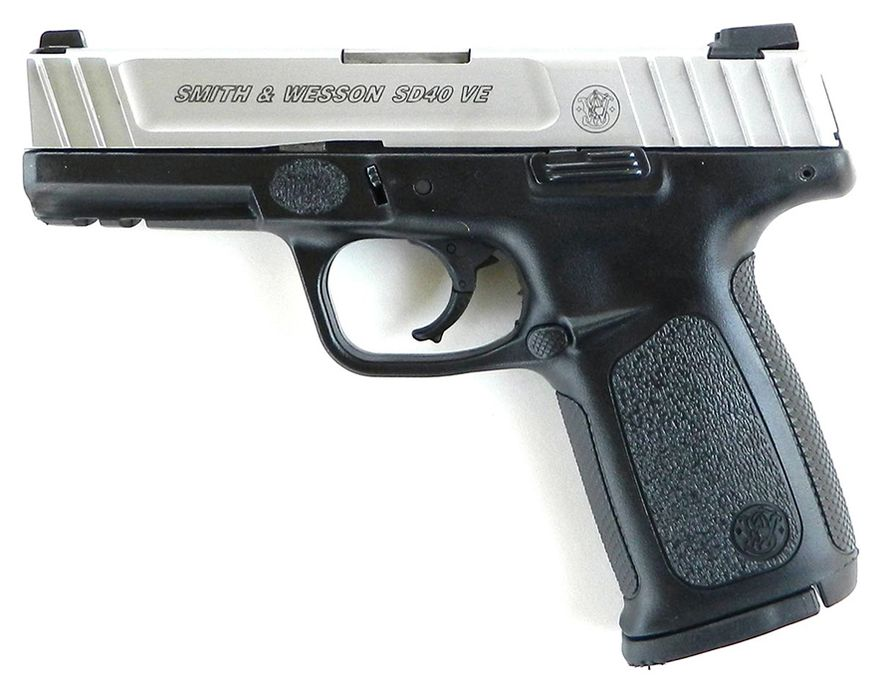 Smith & Wesson SD40 VE - features a self defense trigger for optimal, consistent pull from first round to last. Standard, Picatinny style rail with dovetailed, White Dot Sights and ergonomic, textured grip. MSRP $389
