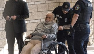 Robert Gentile, 81, arrives at federal court in Hartford, Conn., on Tuesday, Feb. 27, 2018.  The reputed mobster who authorities believe is the last surviving person of interest in the largest art heist in history is facing sentencing in an unrelated weapons case. Federal prosecutors have said they believe Gentile has information about the still-unsolved 1990 heist at the Isabella Stewart Gardner Museum in Boston, where thieves stole an estimated $500 million worth of artwork.   (Patrick Raycraft/Hartford Courant via AP)