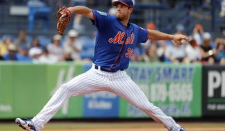 New York Mets starting pitcher Steven Matz throws during the first inning of an exhibition spring training baseball game against the Houston Astros, Tuesday, Feb. 27, 2018, in Port St. Lucie, Fla. (AP Photo/Jeff Roberson)