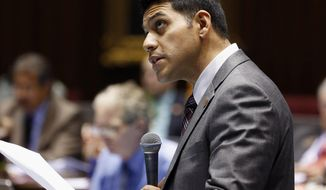 FILE - In this March 4, 2015 file photo, Arizona House Majority Leader Steve Montenegro, R-Avondale, speaks during a legislative session at the Arizona Capitol in Phoenix. A special election to replace a Republican congressman from Arizona who resigned amid sexual misconduct allegations has turned into a slugfest among GOP candidates hoping to fill former U.S. Rep. Trent Franks' seat. The contest includes admissions by Montenegro, that he received sex-tinged messages from a state Senate staffer and accusations former state Sen. Debbie Lesko improperly tapped her state campaign funds to support her effort. (AP Photo/Ross D. Franklin, File)