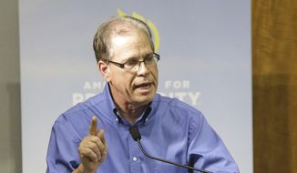 In this Feb. 20, 2018, file photo, U.S. Senate candidate Mike Braun responds to a question during the Indiana Republican Senate Primary Debate at Emmis Communications in Indianapolis (Michelle Pemberton/The Indianapolis Star via AP File) ** FILE **