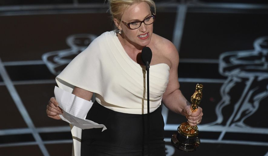 "FILE - In this Feb. 22, 2015, file photo, Patricia Arquette accepts the Oscar for best actress in a supporting role for ""Boyhood"" in Los Angeles. In her acceptance speech, Arquette took aim at the wage gap and gender equality. (Photo by John Shearer/Invision/AP, File)"